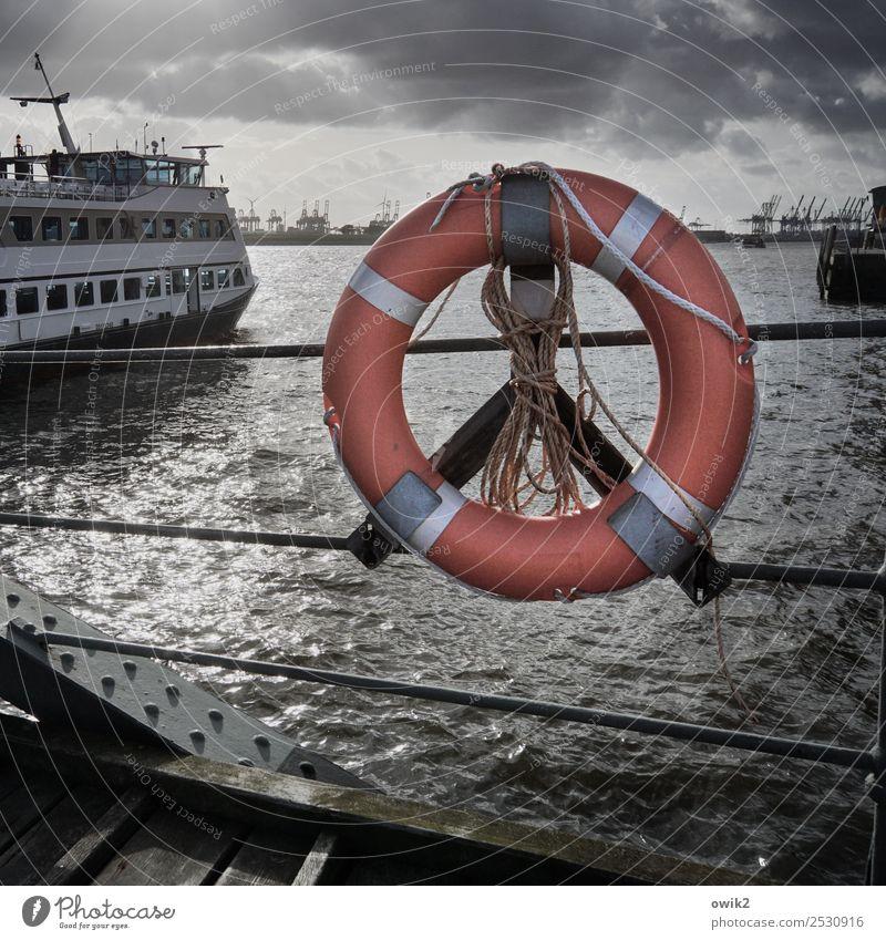 Rundblick Wasser Himmel Wolken Elbe Hamburg Hamburger Hafen Hafenstadt Sehenswürdigkeit Wahrzeichen Verkehr Schifffahrt Passagierschiff Rettungsring