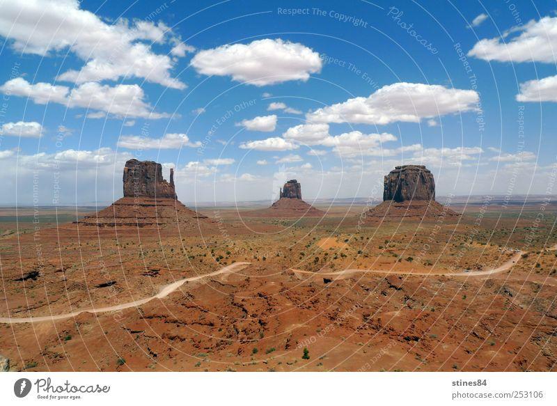 Monument Valley Himmel Natur blau schön Sonne Ferien & Urlaub & Reisen Sommer Freude Freiheit Landschaft Sand braun Erde Felsen Ausflug laufen