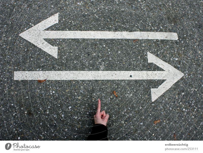widersprüchliche Angaben Hand Straßenkreuzung Wege & Pfade Verkehrszeichen Verkehrsschild Richtungspfeil Hinweisschild Fahrbahnmarkierung Asphalt achtsam Ziel
