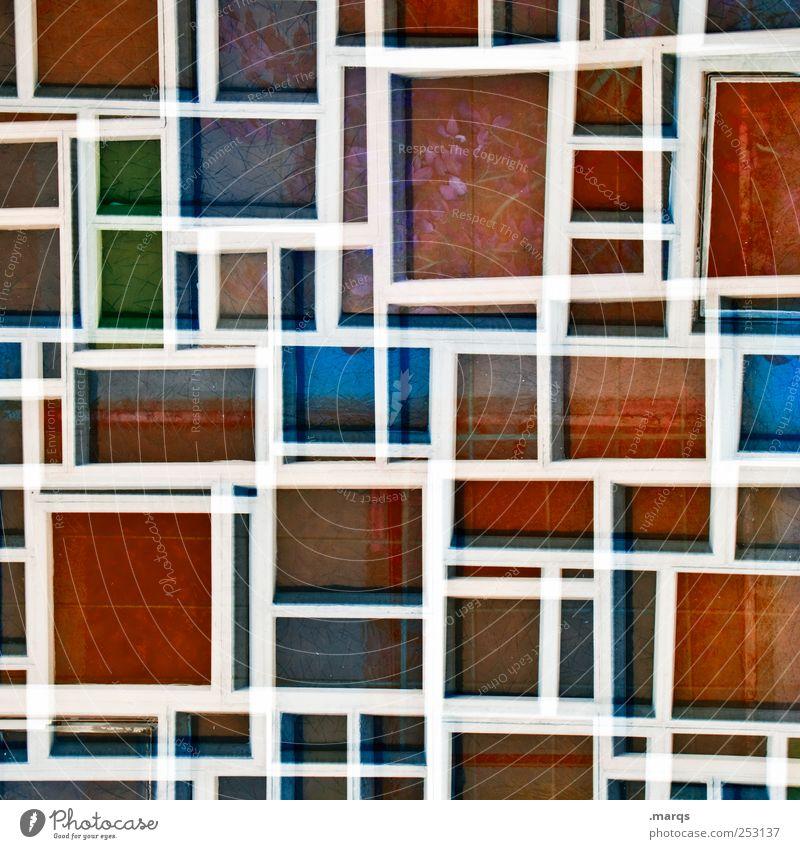 Quad Lifestyle Stil Design Fenster Glas Linie Streifen außergewöhnlich einzigartig verrückt blau grün rot weiß Farbe Surrealismus Mosaik Labyrinth Raster