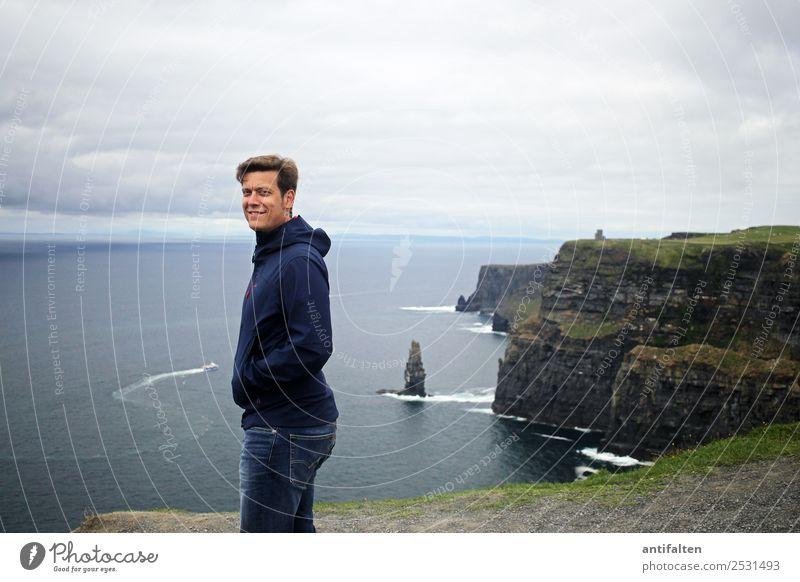 <3 Ferien & Urlaub & Reisen Tourismus Ausflug Ferne Sommer Meer Wellen Republik Irland Cliffs of Moher maskulin Mann Erwachsene Partner Leben Körper Gesicht 1