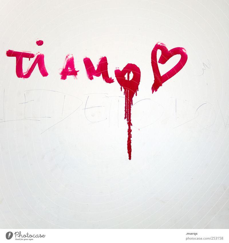 Ti Amo weiß rot Farbe Leben Wand Graffiti Gefühle Farbstoff Mauer Herz Schriftzeichen Lifestyle Romantik Kitsch Zeichen Leidenschaft