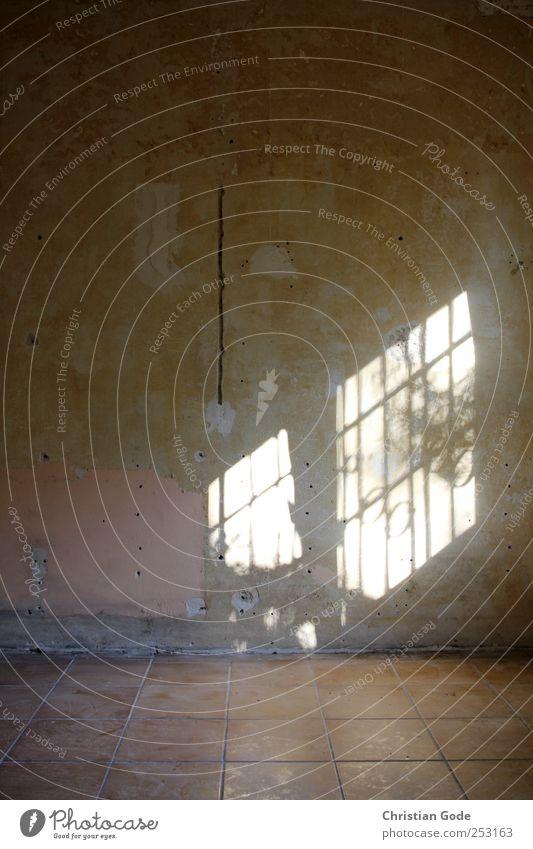 Lichtfenster Menschenleer Haus Bauwerk Gebäude Architektur Mauer Wand Fenster Stein braun Linie Fensterschatten Gitter Putz Fliesen u. Kacheln Loch rosa