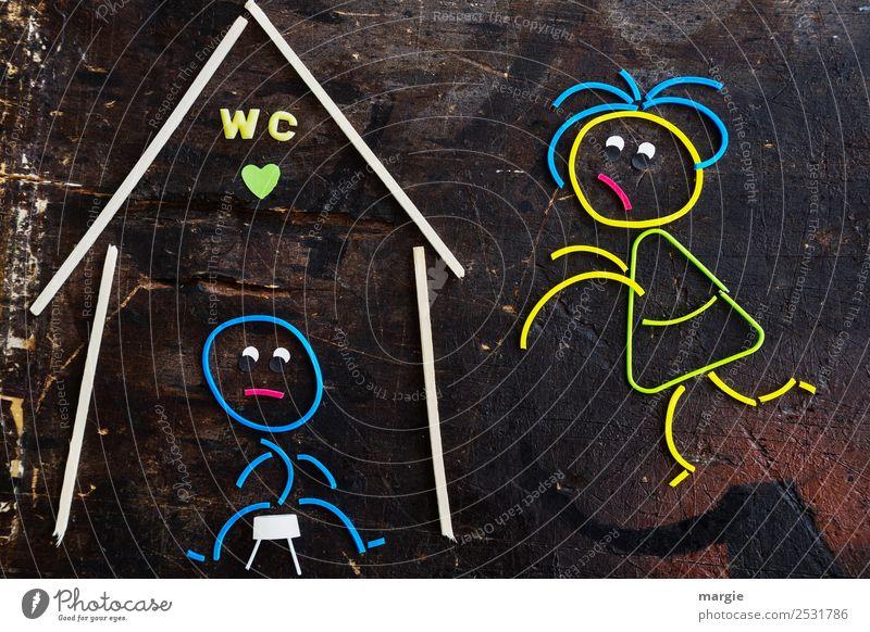 Gummiwürmer: Beeil dich! Körperpflege Häusliches Leben Wohnung Haus maskulin feminin Frau Erwachsene Mann 2 Mensch Zeichen Schriftzeichen Hinweisschild