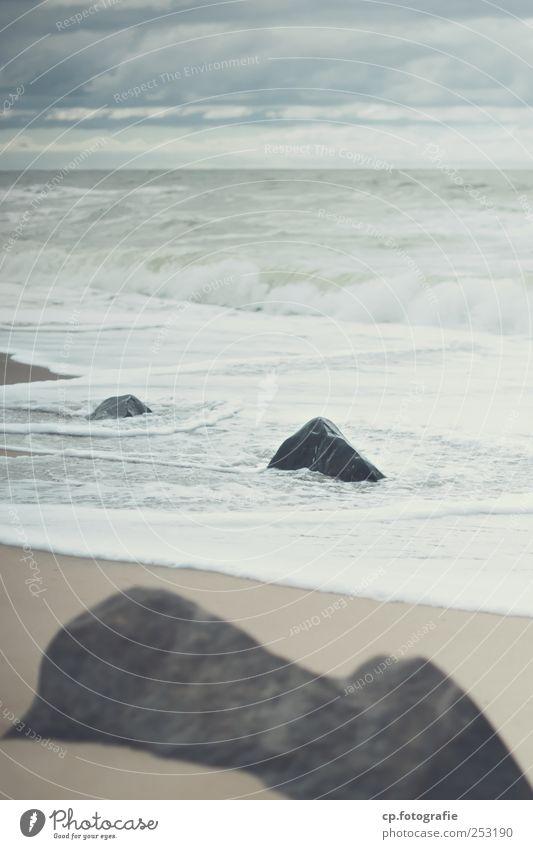 Strandtag Sommer Wolken Landschaft Herbst Küste Stein Wellen natürlich Nordsee Ostsee schlechtes Wetter