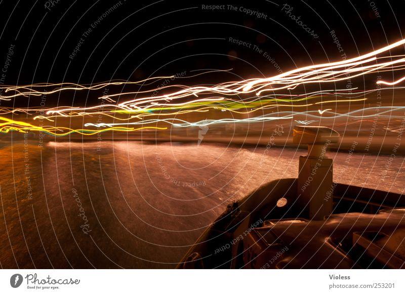 venetian lights II Hafenstadt Bootsfahrt Passagierschiff leuchten Venedig Italien Vaporetto Laguneninseln Lichtermeer Lichtspiel Farbfoto Experiment Nacht