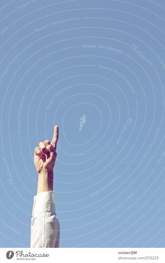aufwärts. Hand blau Himmel (Jenseits) Business Kunst Arme hoch Finger Erfolg Beruf Werbung Geschäftsleute führen Richtung bizarr