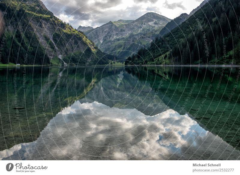 Spiegelung im Vilsalpsee Umwelt Natur Landschaft Wasser Himmel Wolken Sommer Alpen Berge u. Gebirge Tannheimer Tal See ästhetisch groß schön natürlich Romantik