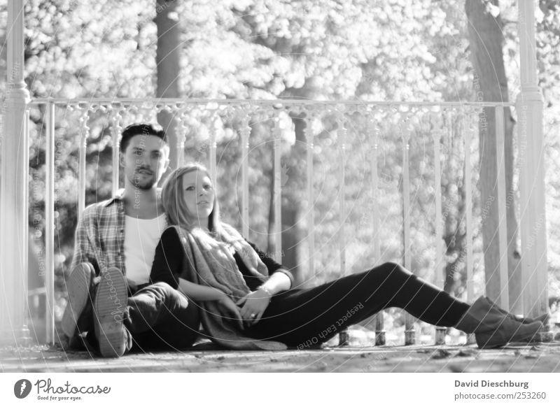 Herbstkollektion IV Mensch Junge Frau Jugendliche Junger Mann Paar Partner 2 18-30 Jahre Erwachsene Sommer Schönes Wetter Baum Park Glück Zufriedenheit