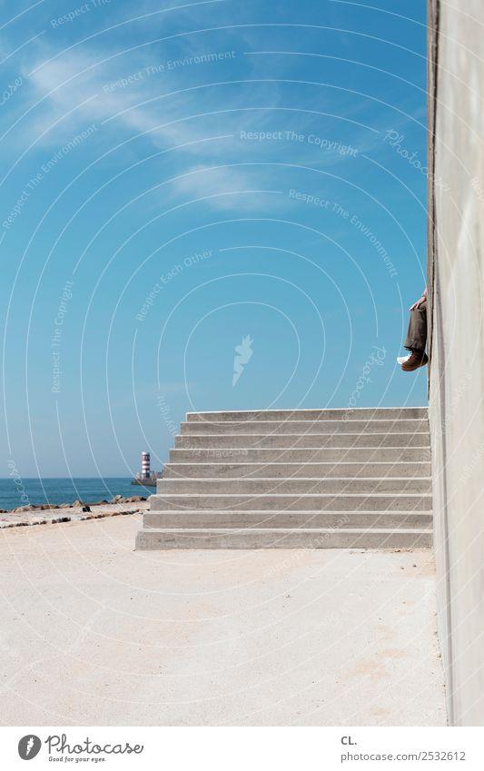 baumeln Mensch Himmel Ferien & Urlaub & Reisen Sommer Wasser Meer Erholung Wolken ruhig Strand Ferne Erwachsene Leben Wand Küste Tourismus