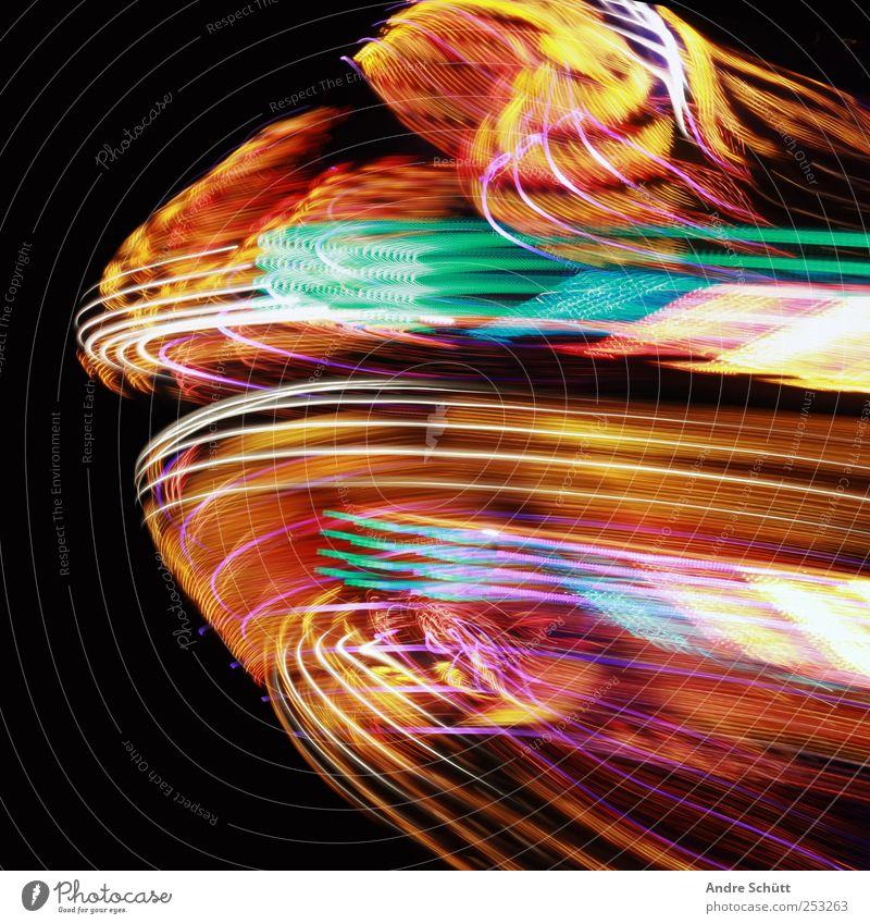 traces Dekoration & Verzierung schaukeln verrückt Geschwindigkeit Stimmung Kreativität Lichtspiel mehrfarbig Jahrmarkt Farbfoto Außenaufnahme Menschenleer