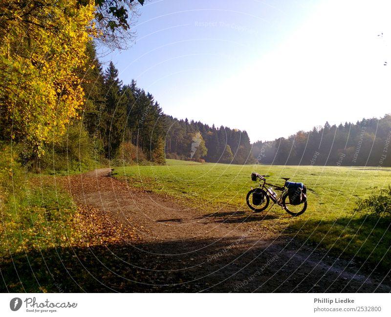 Bicycle touring in autumn valley Ferien & Urlaub & Reisen Sommer Pflanze Sonne Landschaft Wald Ferne Wärme Herbst Wege & Pfade Wiese Sport Gras Tourismus