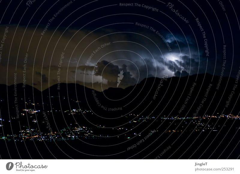 papa, ich kann nicht schlafen. Natur Landschaft Urelemente Luft Himmel Gewitterwolken Nachthimmel Stern Horizont Klima Klimawandel Wetter schlechtes Wetter