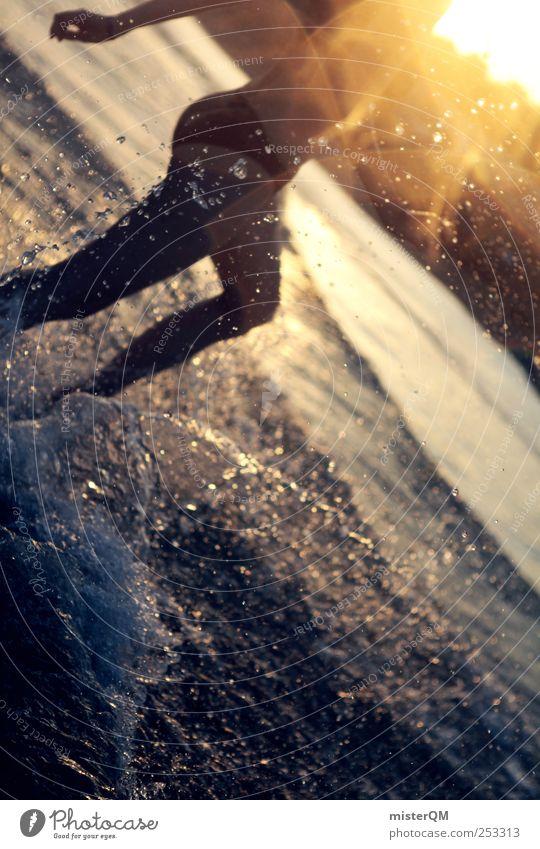 In Paradise. Frau Jugendliche Wasser Ferien & Urlaub & Reisen Meer Sommer feminin Freiheit Wellen Schwimmen & Baden laufen Wassertropfen rennen ästhetisch Dynamik Momentaufnahme