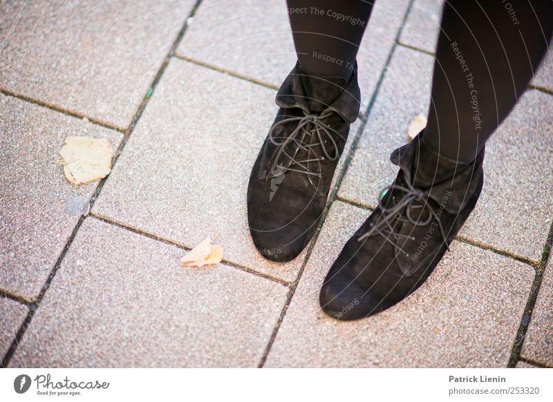 stehen bleiben Lifestyle elegant schön Freizeit & Hobby Mensch Fuß 1 Mode Schuhe warten ästhetisch trendy Straße Pflastersteine Blatt Farbfoto Außenaufnahme