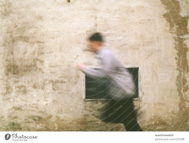 Running Wand Fenster Mann Geschwindigkeit Fototechnik Junge Läufer Unschärfe Bewegung