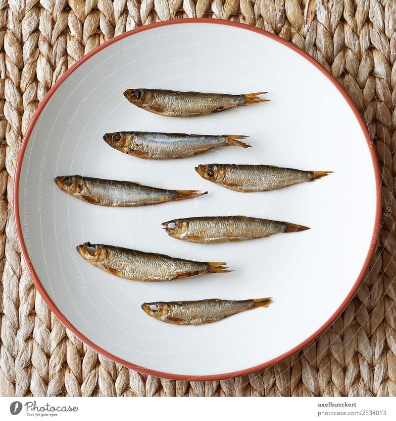 Kieler Sprotten Lebensmittel Fisch Ernährung Teller kieler sprotten Snack arrangiert klein Räucherfisch geräuchert Vogelperspektive flat lay Spezialitäten
