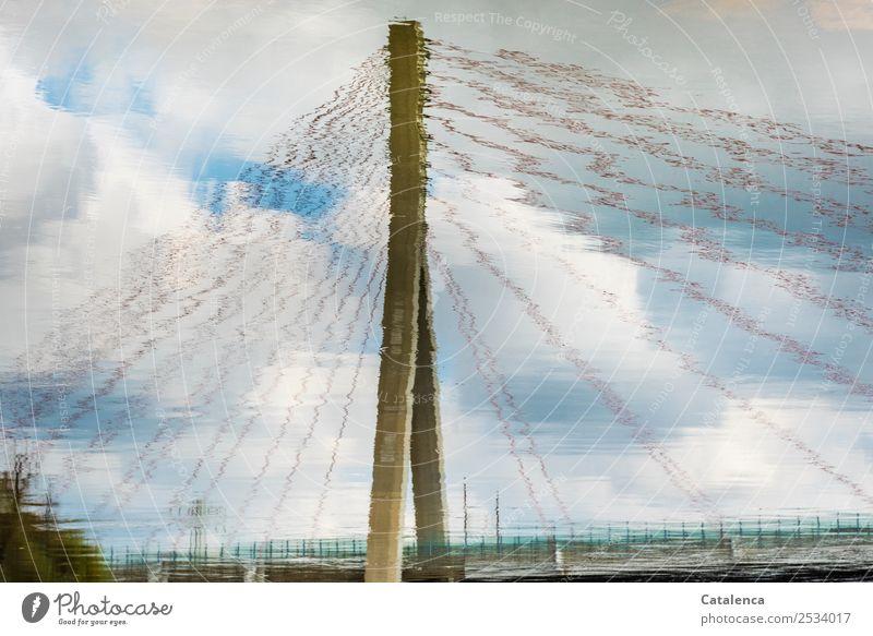 Scheinwelt Landschaft Urelemente Wasser Himmel Wolken Sommer Schönes Wetter Fluss Bauwerk Architektur Brückenpfeiler Pylon Hängebrücke Brückengeländer Seil