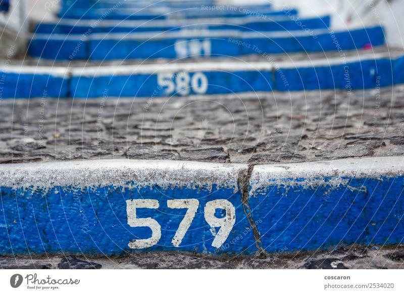 Nummerierte Stufen vom Hafen zum Zentrum von Thira, Santorini Lifestyle Stil schön Ferien & Urlaub & Reisen Tourismus Sommer Strand Meer Insel Haus Kultur