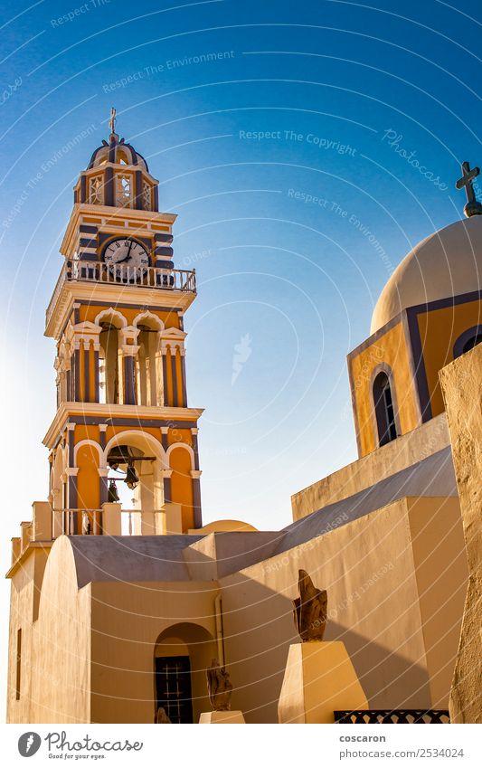Beeindruckende katholische Kathedrale in Thira, Santorini, Griechenland. Ferien & Urlaub & Reisen Tourismus Sommer Insel Uhr Himmel Dorf Stadt Kirche Dom