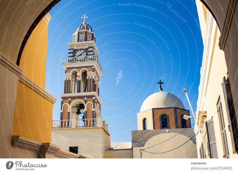 Beeindruckende katholische Kathedrale in Thira, Santorini, Griechenland. Ferien & Urlaub & Reisen Tourismus Sommer Insel Uhr Himmel Dorf Kirche Dom Architektur