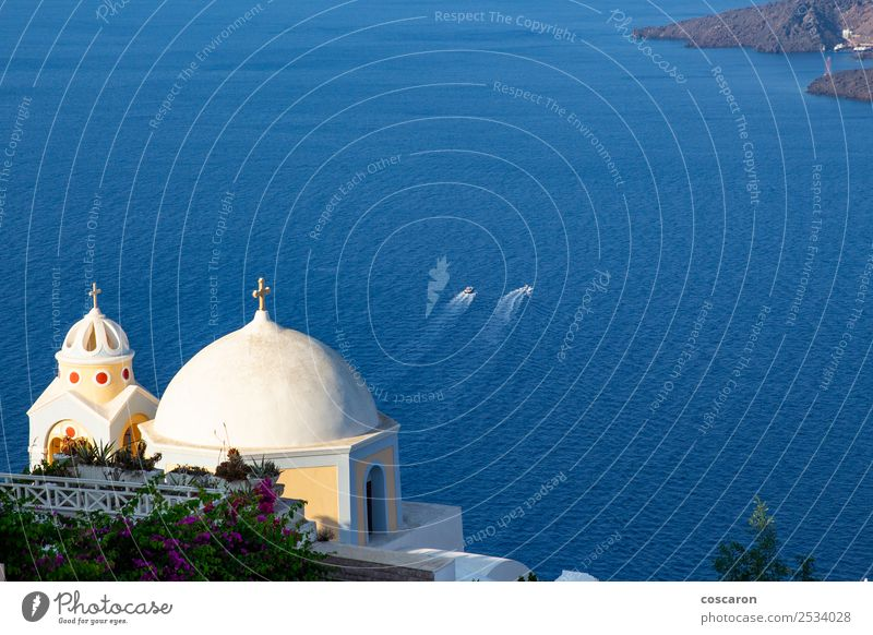 Church´s Kuppel mit Meereshintergrund in Santorini, Griechenland schön Ferien & Urlaub & Reisen Tourismus Kreuzfahrt Sommer Insel Kultur Natur Landschaft Wasser
