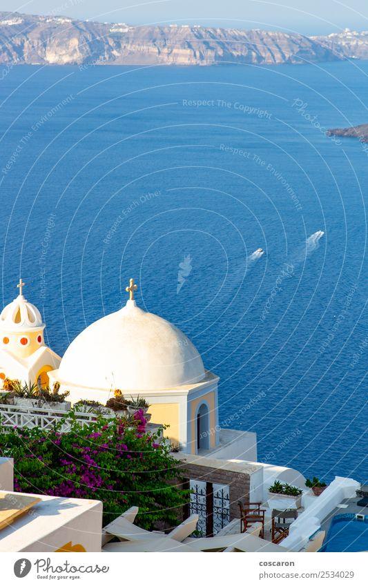 Church´s Kuppel mit Meereshintergrund in Santorini, Griechenland schön Ferien & Urlaub & Reisen Tourismus Kreuzfahrt Sommer Insel Kunst Kultur Natur Landschaft