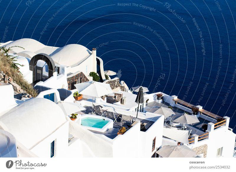 Terrassen und Gebäude in Oia, Santorini, Griechenland Reichtum schön Schwimmbad Ferien & Urlaub & Reisen Tourismus Sommer Strand Meer Insel Haus Natur