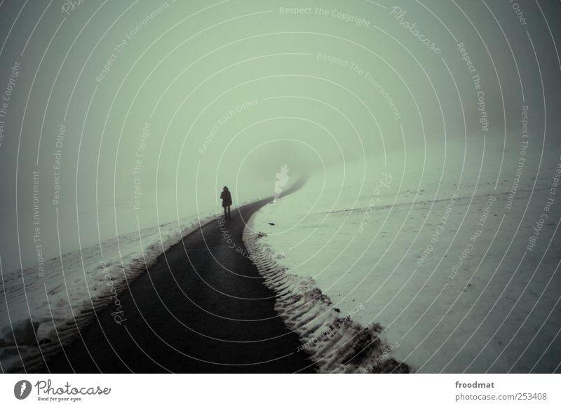 düsterweg Mensch Mann Winter Erwachsene Einsamkeit dunkel kalt Schnee Bewegung Wege & Pfade träumen Eis Angst Nebel laufen maskulin