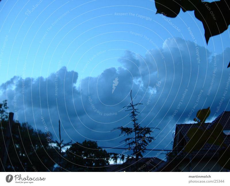 Abendstimmung Baum Haus Wolken Tanne Blauer Himmel