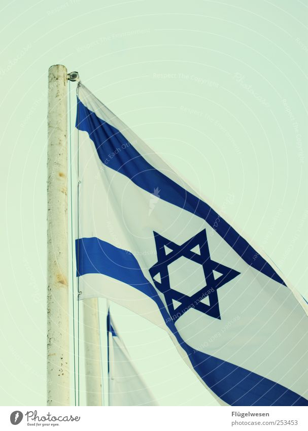 Go Israel! Fahne Wahrzeichen wehen Naher und Mittlerer Osten Israelis Judentum Patriotismus Demokratie Nationalflagge Davidstern Vor hellem Hintergrund