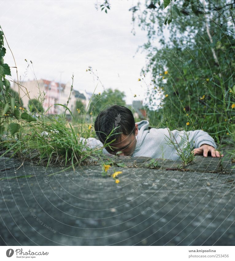 untergrund II Mensch Mann Natur Jugendliche Pflanze Erwachsene Umwelt Bewegung Gras Stein Beton maskulin außergewöhnlich 18-30 Jahre Klettern festhalten
