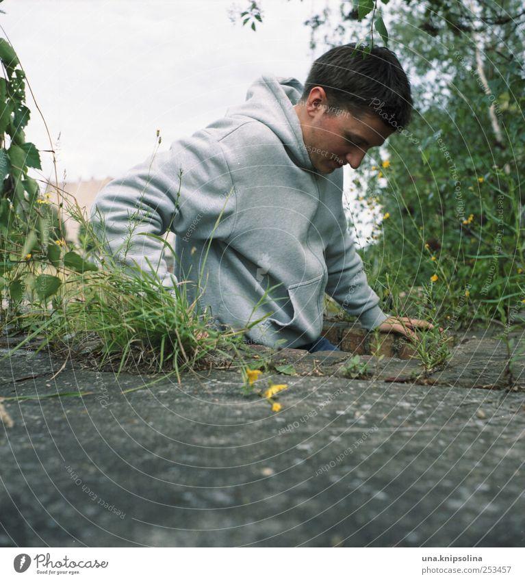 untergrund III Mensch Mann Natur Jugendliche Pflanze Erwachsene Umwelt Bewegung Gras Stein Beton maskulin außergewöhnlich 18-30 Jahre Klettern festhalten