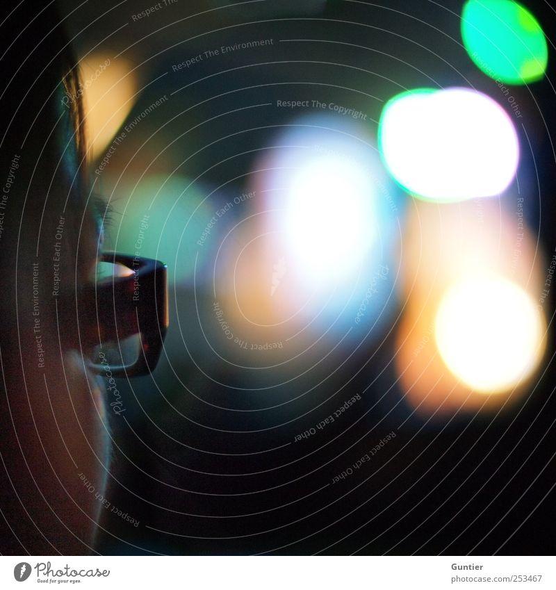 Klarsicht Mensch Kopf Haare & Frisuren 1 blau gelb grün schwarz weiß Brille Brillenträger Glas Optik Veranstaltung Farbfoto Gedeckte Farben mehrfarbig