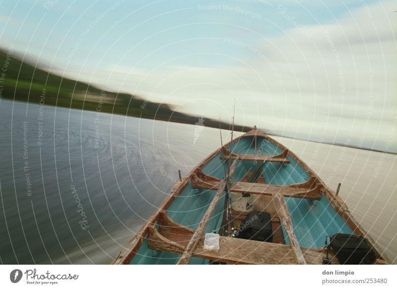 noch einmal... Ferien & Urlaub & Reisen Bewegung See nass Ausflug Geschwindigkeit Insel fahren Güterverkehr & Logistik analog drehen Verkehrsmittel Angelrute