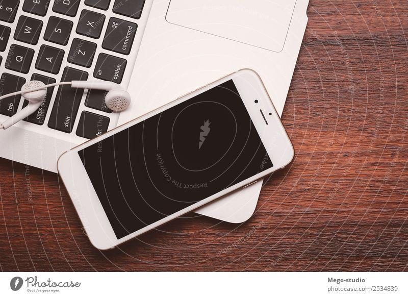 weiß schwarz Holz Business Büro modern Technik & Technologie Tisch Computer Information Telefon Internet Handy Schreibtisch Notebook Mobilität