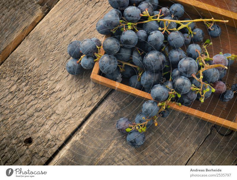 Weintrauben in einer Holzbox Frucht Dessert Bioprodukte Vegetarische Ernährung Diät Gesunde Ernährung Sommer Natur lecker agriculture berry blue branch bunch