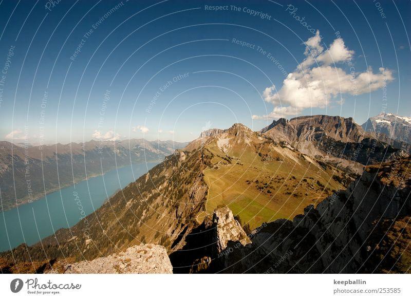 jr_001 Natur blau grün Sommer Wasser Landschaft Ferne Berge u. Gebirge Freiheit See braun Ausflug Abenteuer Gipfel Alpen Klettern