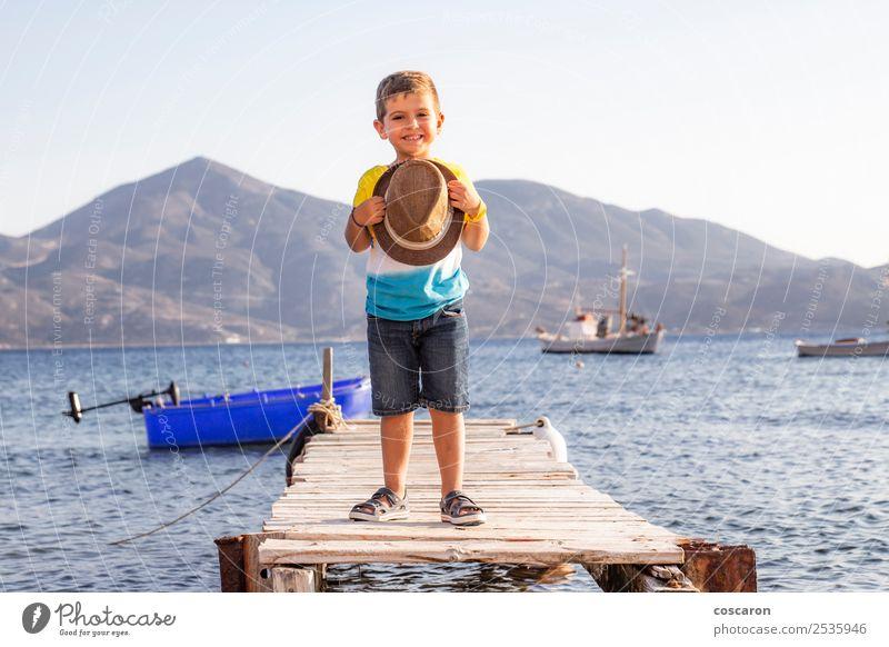Kind Mensch Himmel Natur Ferien & Urlaub & Reisen Mann Sommer blau schön weiß Meer Erholung Freude Strand Lifestyle Erwachsene