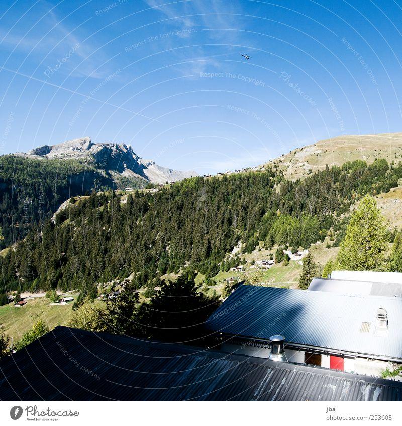 Bergtal Ferne Sommer Berge u. Gebirge wandern Haus Dach Wellblech Natur Landschaft Himmel Herbst Schönes Wetter Baum Nadelwald Bergwald Wald Felsen Alpen