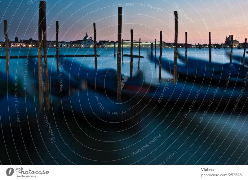 venetian nights blau Stimmung Romantik Hafen Italien entdecken historisch Verkehrswege Sehenswürdigkeit Verliebtheit Venedig Gondel (Boot) Hafenstadt Bootsfahrt Gondoliere