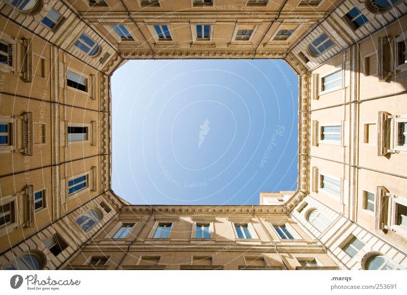 Frame Rom Italien Stadt Architektur Fassade einfach Innenhof Perspektive Rechteck himmelwärts aufstrebend hoch ästhetisch elegant Haus oben Ordnung Präzision