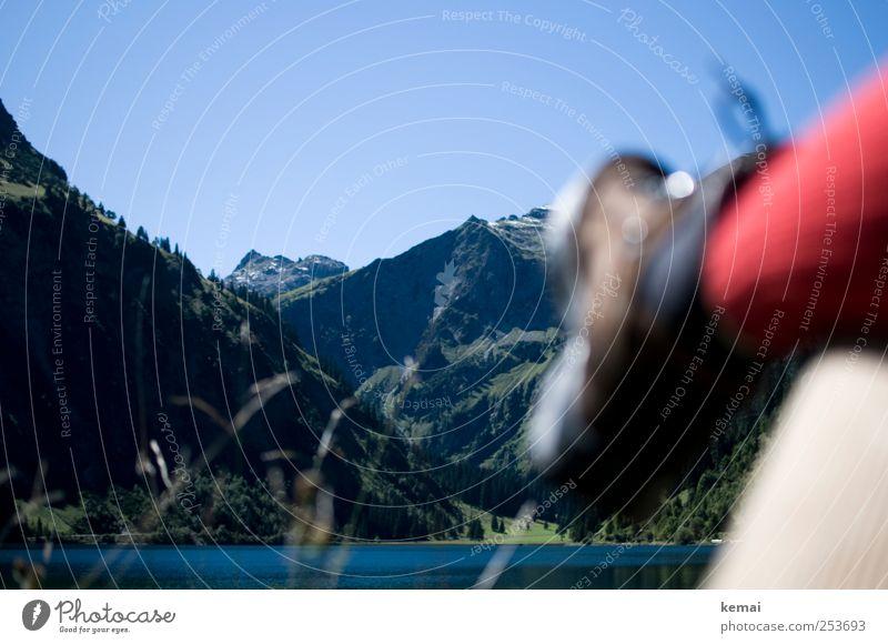 Schon wieder Pause Berge u. Gebirge wandern Umwelt Natur Landschaft Pflanze Wasser Wolkenloser Himmel Sonnenlicht Sommer Schönes Wetter Baum Felsen Alpen Gipfel