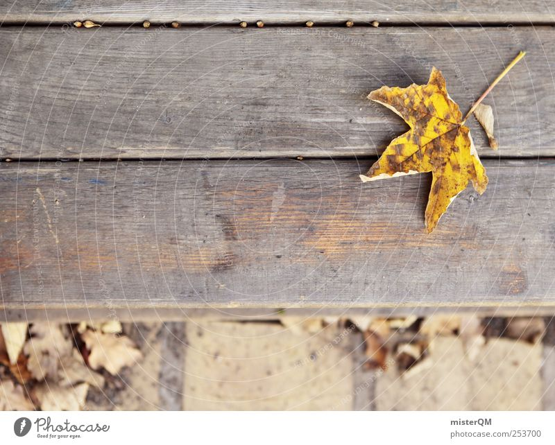 Parkbank. Blatt gelb Herbst Kunst Zufriedenheit ästhetisch Bank Idylle unten Herbstlaub herbstlich dezent Ahornblatt Gleichgültigkeit Herbstbeginn