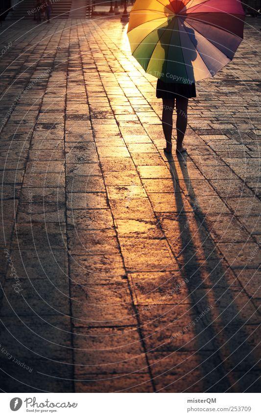 Let's Colour Venice V Frau Einsamkeit Reisefotografie Stil Freiheit Kunst Zufriedenheit gold ästhetisch Kreativität Abenteuer Regenschirm Theaterschauspiel Pflastersteine Kunstwerk Städtereise