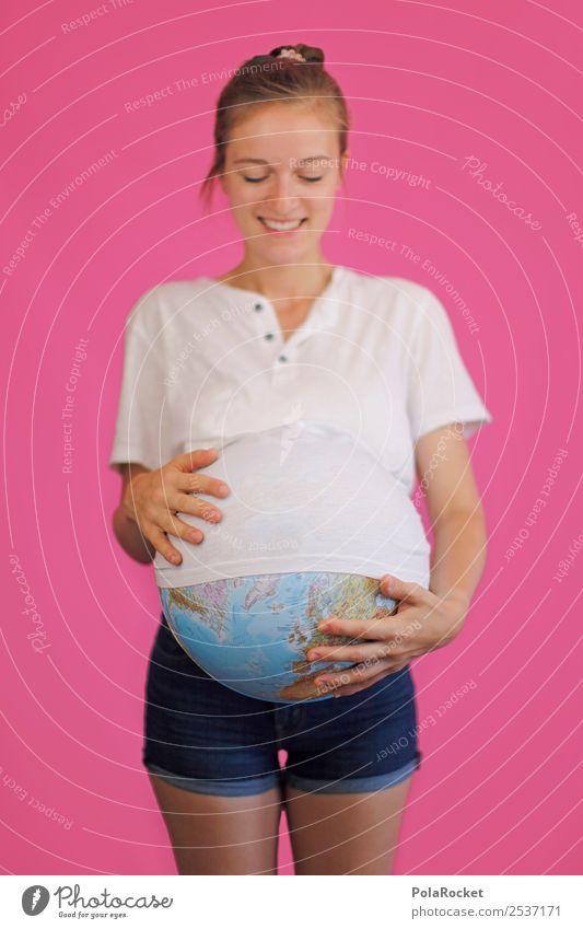 #A# Schwanger und Erde und So feminin 1 Mensch skurril Sorge schwanger Kreativität Idee innovativ Fürsorge Frau dick Umweltschutz kümmern Globus Farbfoto