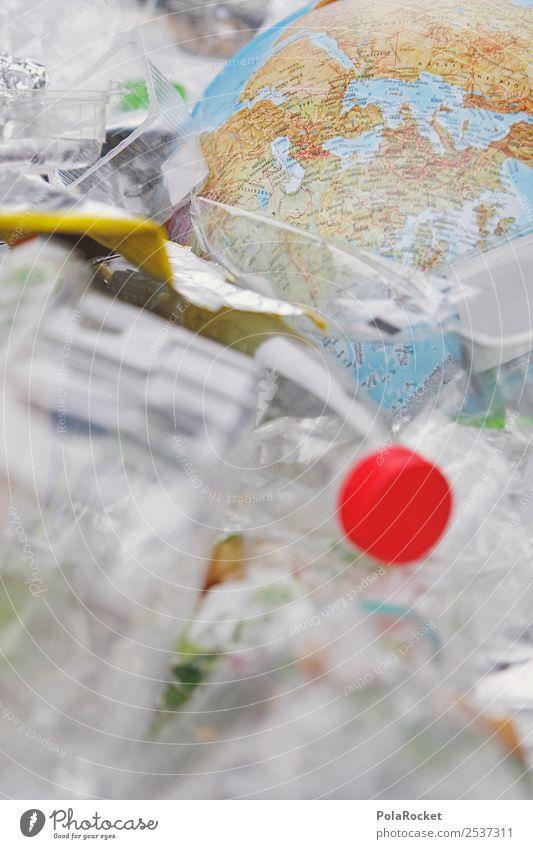#A# Welt im Müll Umwelt Klima Globus Erde Müllbehälter Müllsack Müllverwertung Müllentsorgung Recycling Recyclingcontainer Statue Kunststoff Verpackung