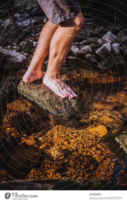 Fußbad Pediküre Leben Sinnesorgane Erholung Schwimmen & Baden Ferien & Urlaub & Reisen Ausflug Abenteuer Freiheit Camping Sommer wandern Mensch maskulin Mann
