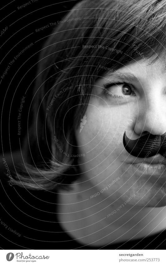 gute tarnung! Freude Karneval Junge Frau Jugendliche Kopf Haare & Frisuren Gesicht 1 Mensch 30-45 Jahre Erwachsene Schauspieler Subkultur kurzhaarig Bart