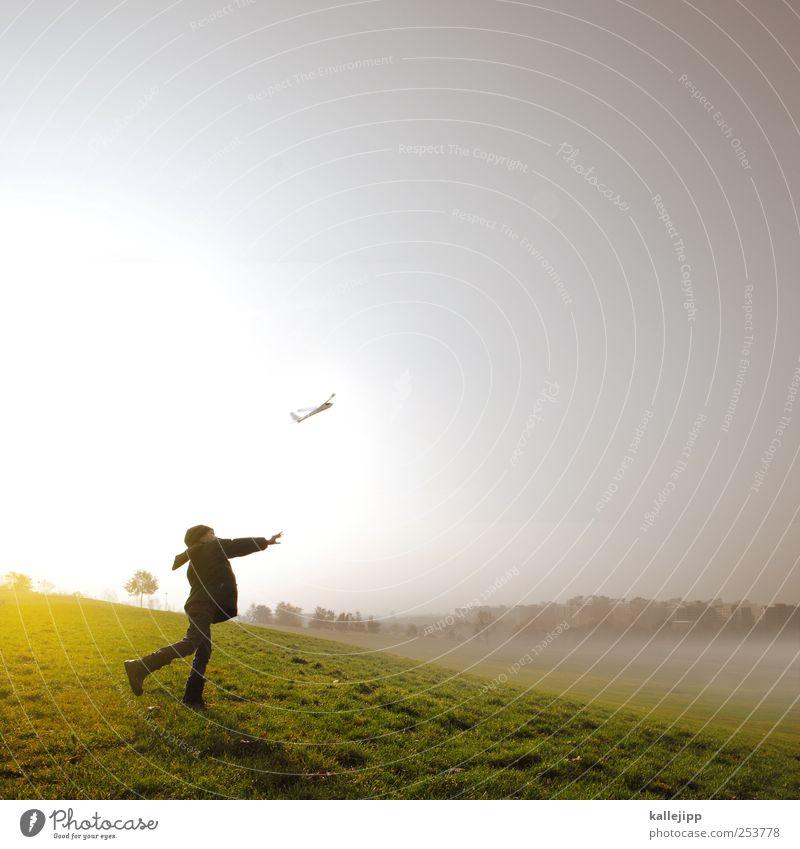 music sounds better with you Mensch Kind Leben Wiese Spielen Junge träumen Kindheit Nebel Erfolg Luftverkehr Reisefotografie Spielzeug Flugzeugstart leicht